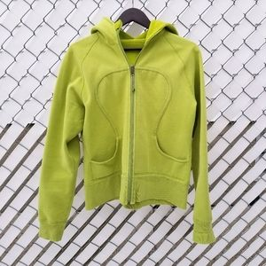 Lululemon lime green scuba zip up hoodie sweater
